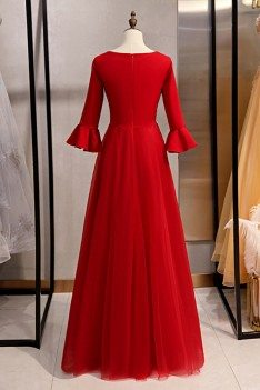Burgundy Long Red Satin Evening Formal Dress With Flare Sleeves - MYS79071