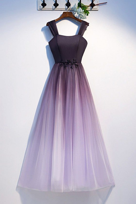 Aline Ombre Long Tulle Purple Prom Dress With Straps - MYS79023