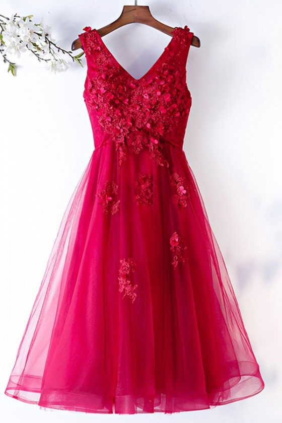 Cute Tea Length Tulle Party Dress Vneck With Flowers Petals - MYS68010
