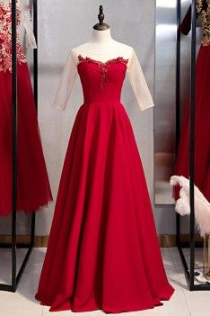 Long Red Burgundy Evening Dress With Illusion Neckline - MYS79085