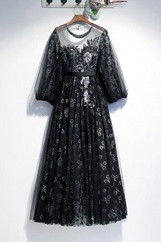 Embroidery Long Black Formal Dress With Sheer Lace Sleeves - MYS78020