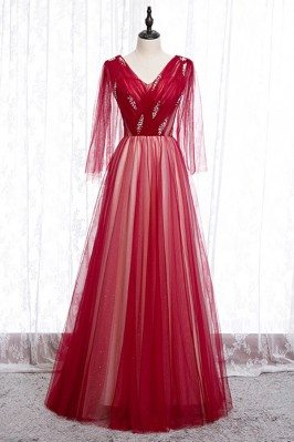 Flowy Long Red Tulle Prom Dress Vneck With Puffy Sleeves - MYS78005