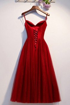 Simple Burgundy Tulle Aline Party Dress With Straps - MYS68093