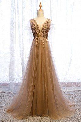 Elegant Brown Gold Long...