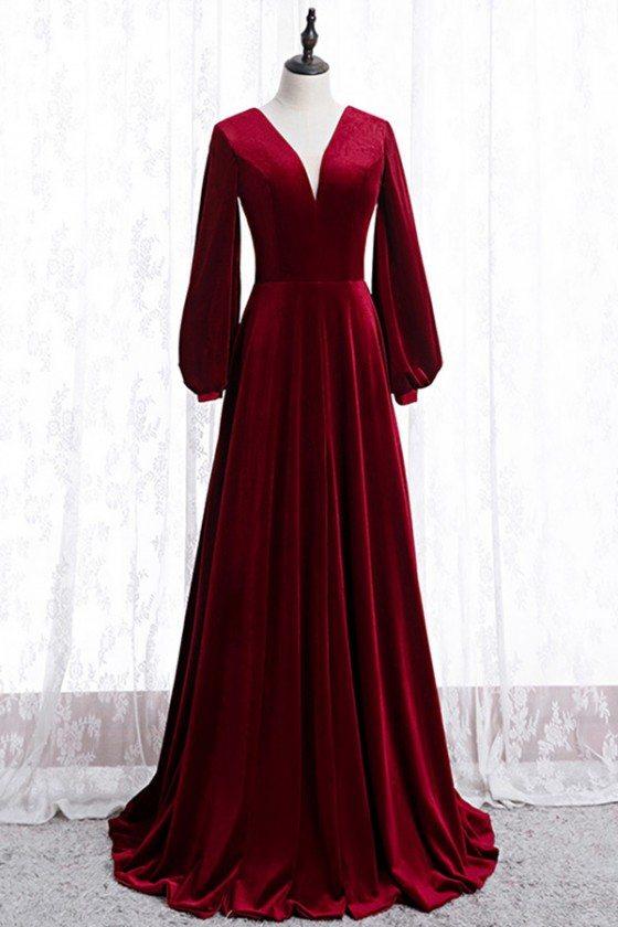 Burgundy Long Evening Velvet Dress Vneck With Sleeves - MYS78042