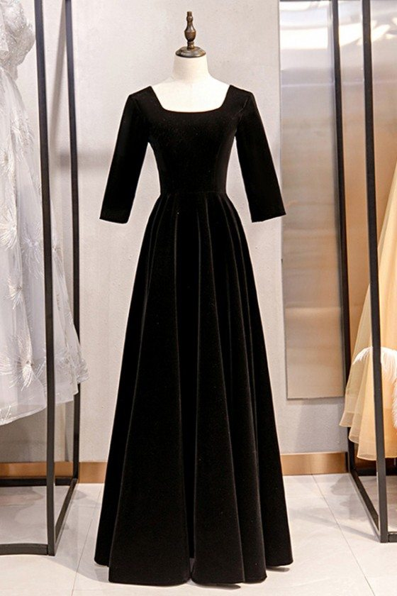 Simple Long Black Velvet Formal Dress Retro With Square Neck
