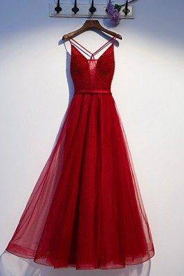 Burgundy Sexy Open Back Sequins Long Prom Dress - MYS67025