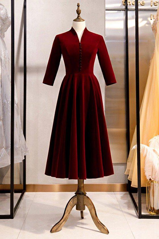 Velvet Tea Length Burgundy Party Dress With Sleeves
