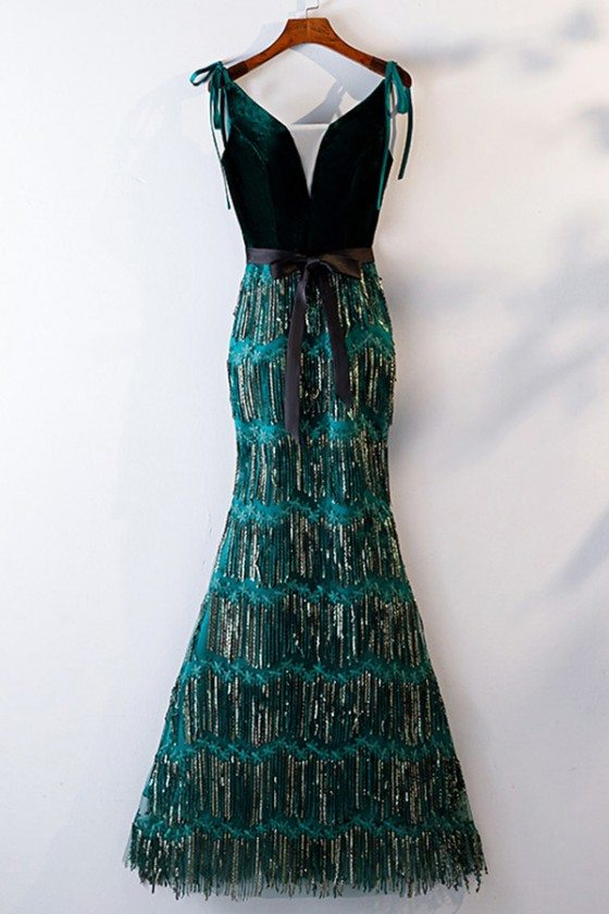 Unique Green Sequins Mermaid Formal Dress Long With Straps - MYS68062