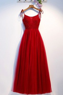 Burgundy Aline Long Tulle Party Dress With Beadings Straps - MYS68072