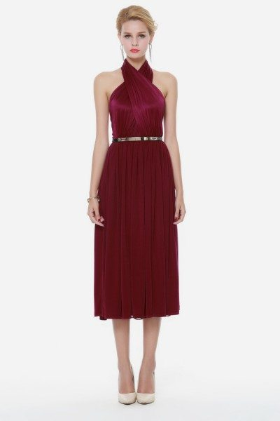 Burgundy Short Halter Party Dress Backless