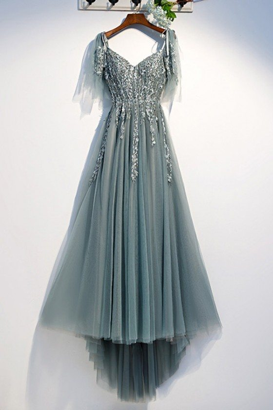 Flowy Long Tulle Prom Dress Dusty Green Lace With Tulle Sleeves