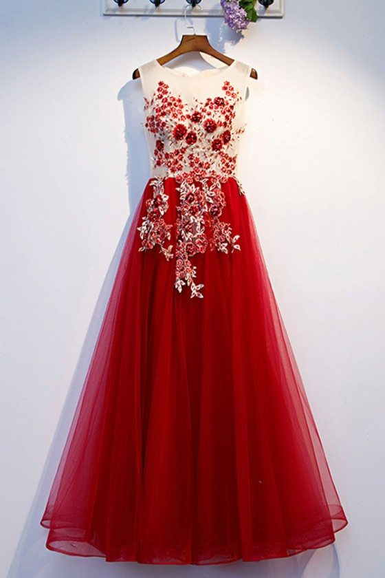 Aline Burgundy Long Tulle Prom Dress With Beaded Flowers - MYS69008