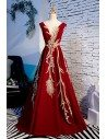 Unique Gold Embroidery Formal Long Dress Sleeveless - MYS68065