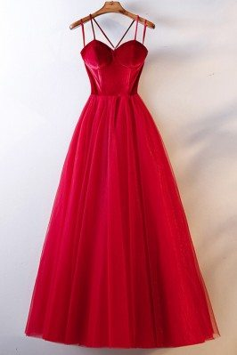 Simple Long Red Corset Back Prom Party Dress With Straps - MYS68057