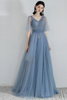 Fairy Blue Tulle Long Prom...