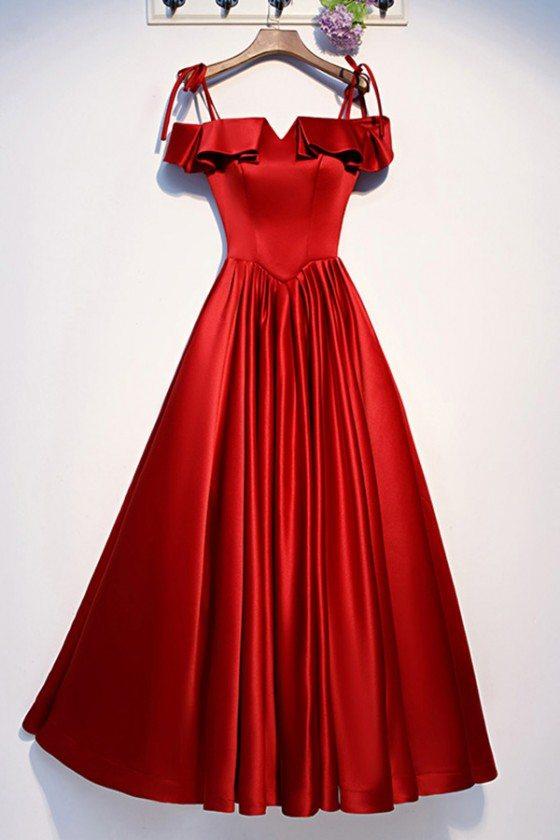 Cute Ruffles Burgundy Satin Aline Prom Dress With Straps - MYS69071