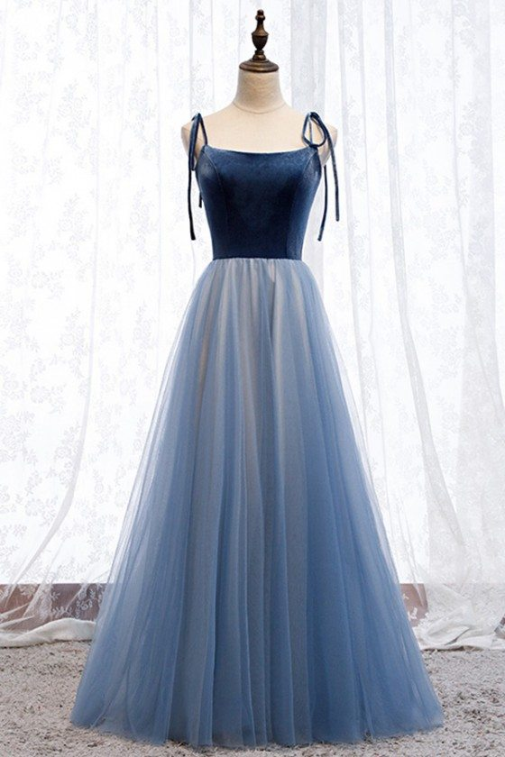Aline Blue Tulle Prom Party Dress With Straps - MYS67005