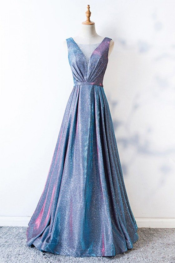 Sparkly Blue Long Aline Party Dress Vneck With Pleated - MYS68023