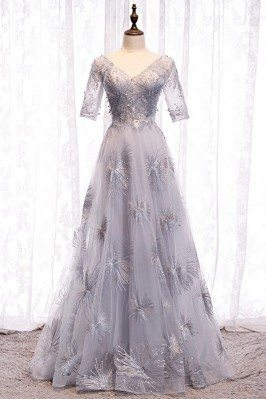 Unique Grey Long Prom Dress...