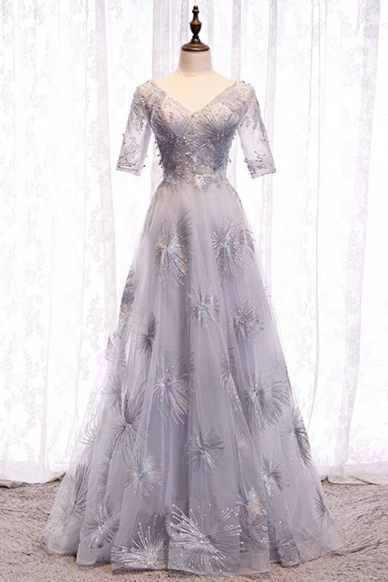 Unique Grey Long Prom Dress Vneck With Bling Sleeves