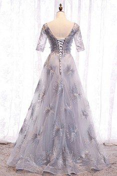 Unique Grey Long Prom Dress Vneck With Bling Sleeves - MYS78016