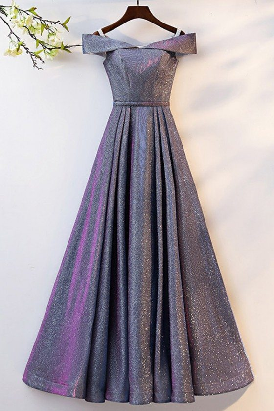 Ombre Blue Purple Long Aline Prom Dress With Off Shoulder - MYS68025