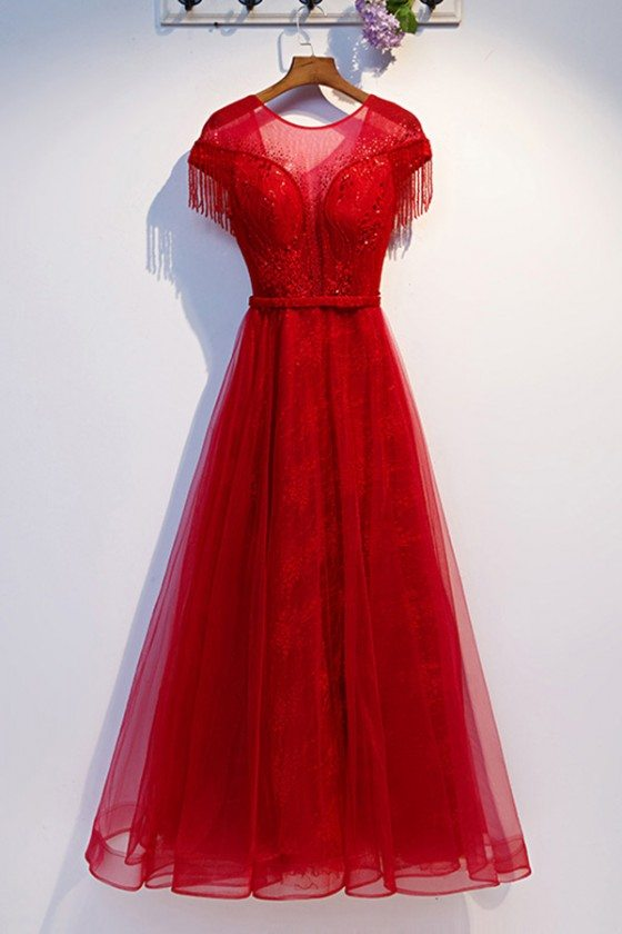 Aline Long Red Tulle Flowy Prom Dress With Sheer Neckline - MYS69012