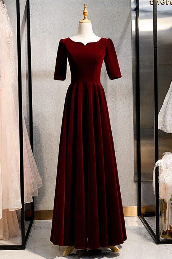 Maroon Long Red Vintage Formal Velvet Dress With Sleeves