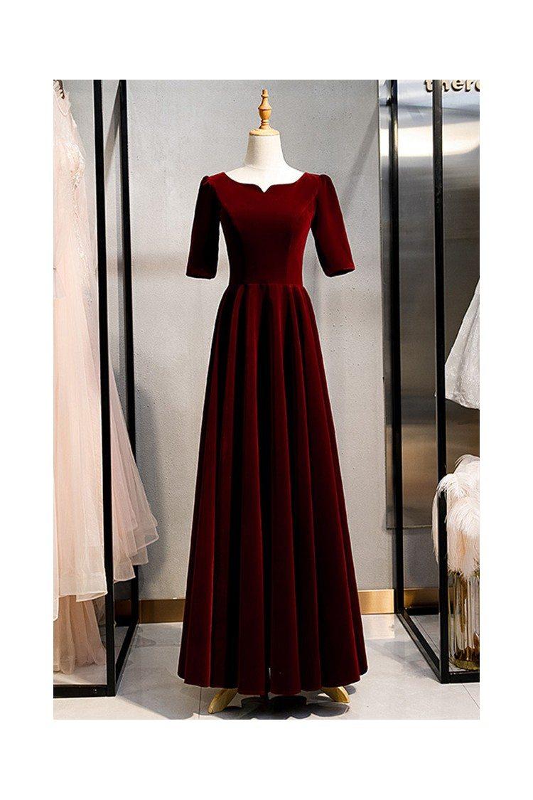 Maroon Long Red Vintage Formal Velvet Dress With Sleeves -6938