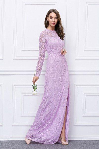 Lace Slit Long Sleeve Open Back Formal Dress