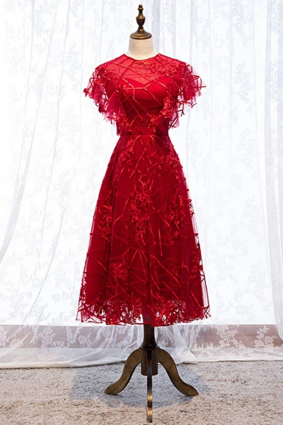 Modest Red Lace Midi Party Dress Burgundy With Round Neck