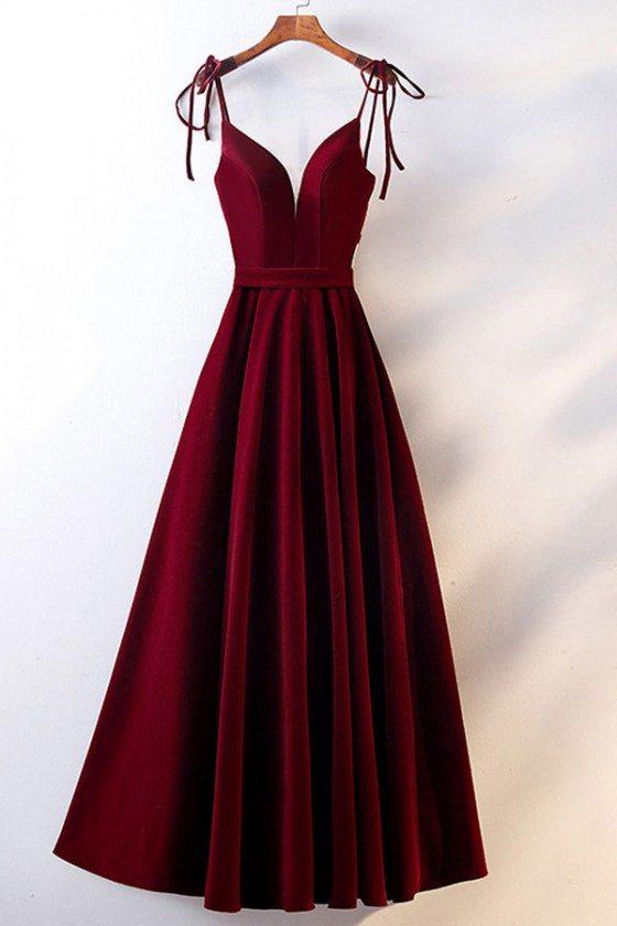 Formal Party Burgundy Long Velvet Dress Vneck With Straps - MYS68059