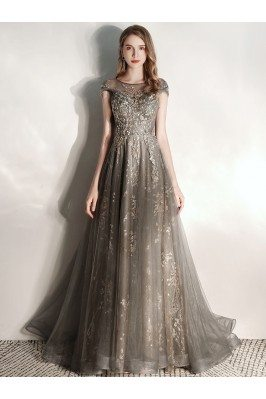 Formal Long Grey Tulle...