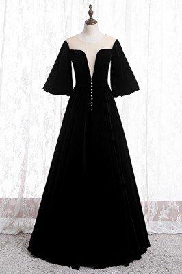 Black Velvet Formal Long Evening Dress Retro With Puffy Sleeves - MYS78037