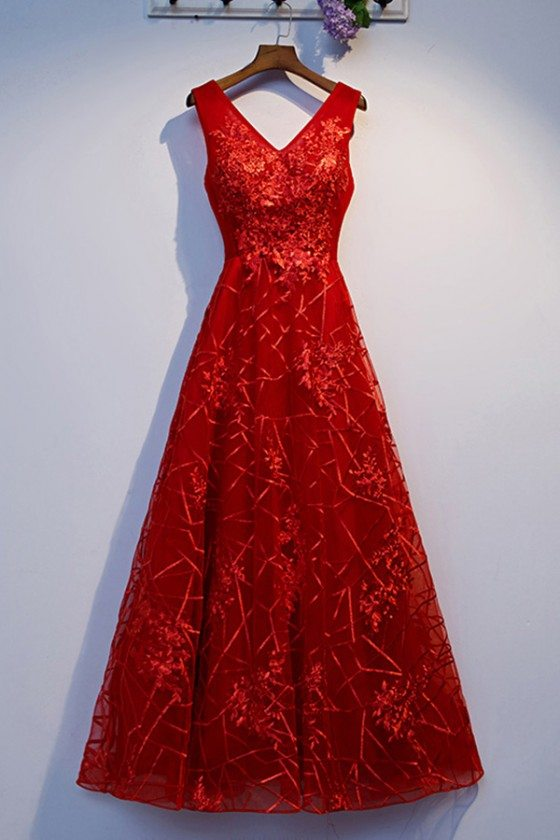 Burgundy Long Red Prom Dress Vneck With Lace - MYS69017