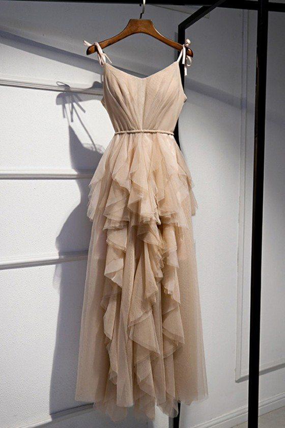 Champagne Long Tulle Special Occasion Dress With Ruffles - MYS79038