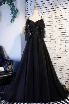 Beaded Lace Long Black Formal Prom Dress With Train - MYS68047