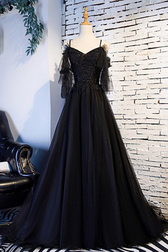 Beaded Lace Long Black Formal Prom Dress With Train