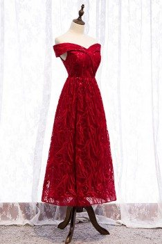 Special Lace Tea Length Burgundy Party Dress With Off Shoulder - MYS79006