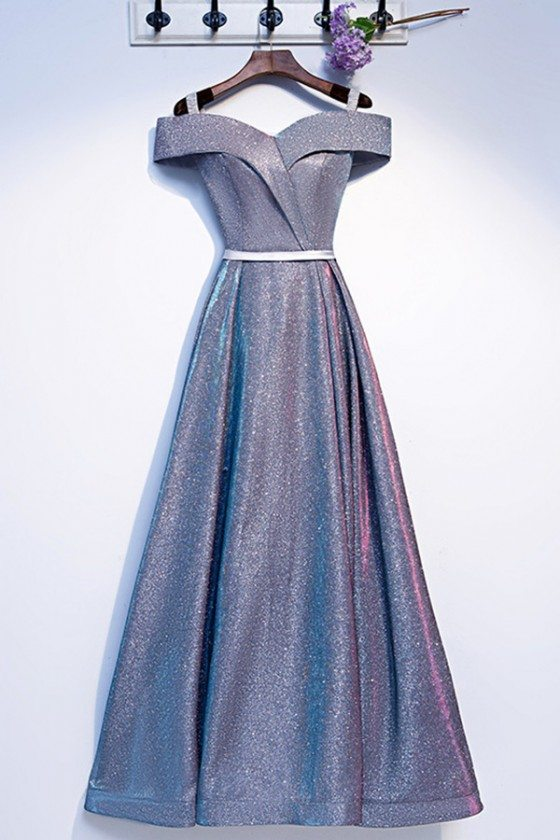 Blue Matellic Aline Long Sparkly Prom Dress Off Shoulder