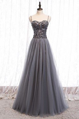 Flowy Grey Tulle Long Prom...