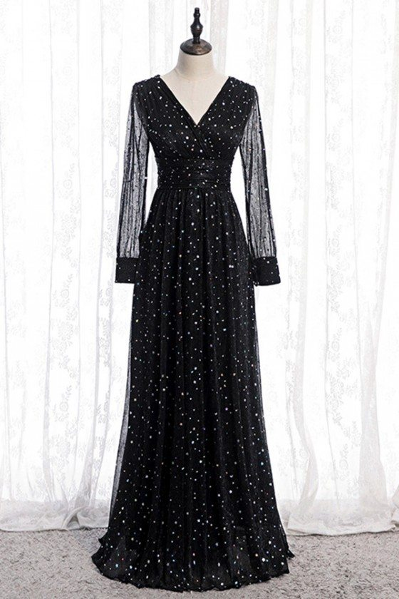 Fatasy Bling Sequins Vneck Evening Dress With Illusion Long Sleeves