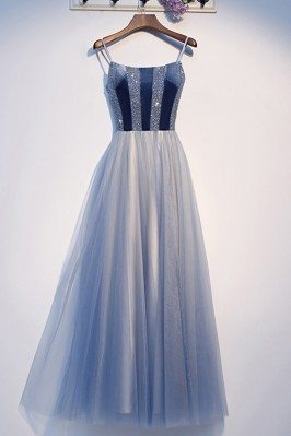 Blue Sequins Top Tulle...