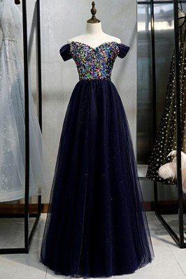 Blue Tulle Long Prom Dress...