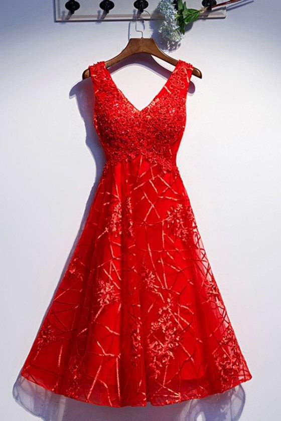 Special Lace Red Tea Length Party Dress With Vneck - MYS79008