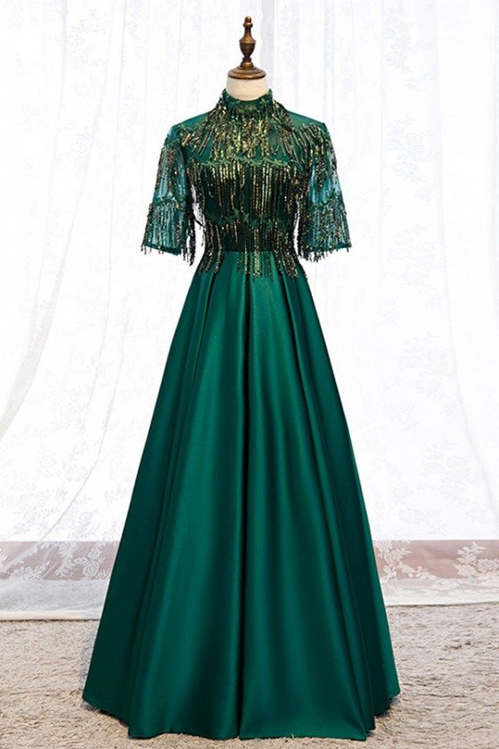 Green Formal Long Evening Dress Satin With Bling Sequins Sleeves - MYS79007