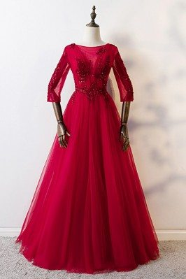 Burgundy Long Red Aline...