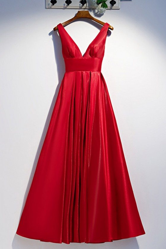 Long Red Pleated Prom Dress With Deep Vneck