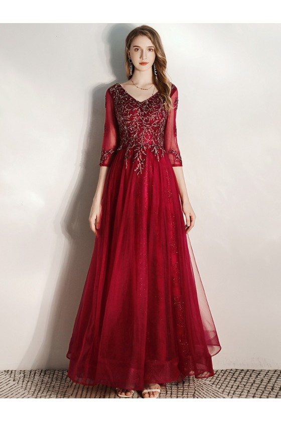 Burgundy Long Formal Party Dress Vneck With Half Sleeves